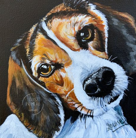 Darling Daisy, pet portrait of beagle by Louise's ARTiculations
