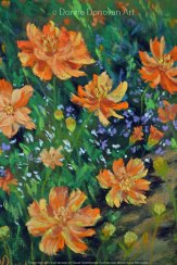 Orange Cosmos by Donna Donovan, guest artist at Louise's ARTiculations