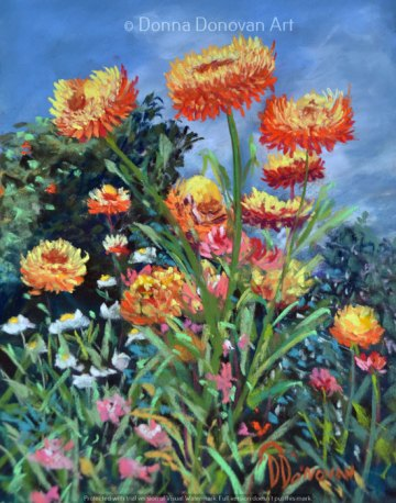 Orange Paper Daisy by Donna Donovan, guest artist at Louise's ARTiculations