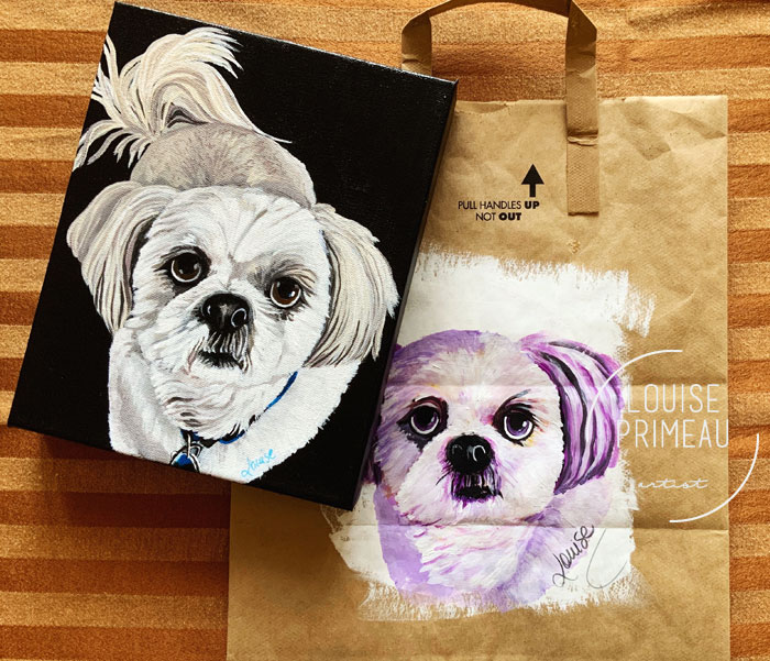 Brown paper bag pet portrait