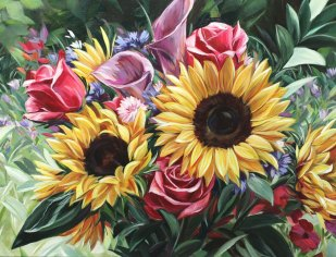 Sunflower Dreaming by Alissa Kari Arts, guest artist at Louise's ARTiculations