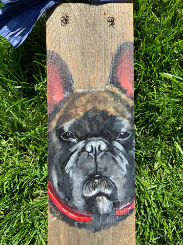 French Bulldog on reclaimed fence board by Louise's ARTiculations