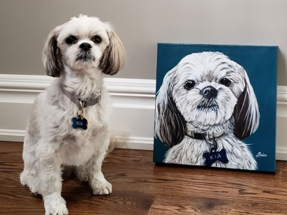 Kia with her custom pet portrait