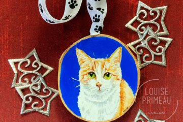 Wood slice ornament with custom cat portrait by Louise's ARTiculations