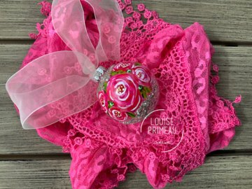 Roses on glass ornament by Louise Primeau