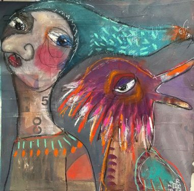 Two Fellas in Love by Rossana Russo, guest artist at Louise's ARTiculations