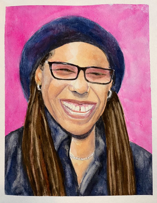 Nile Rodgers by Jane Cobb, guest artist at Louise's ARTiculations