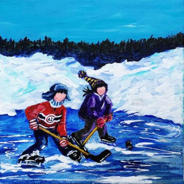 Two on the Puck, Canadiana art by Louise Primeau, Ottawa artist.