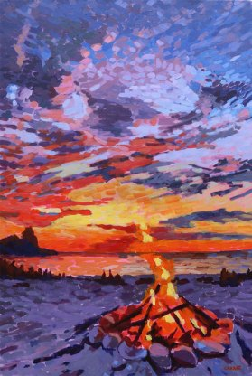 Bonfire on the Beach by Carrie Hensel