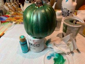 metallic paint on plastic pumpkin