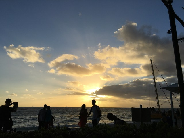 Watching the sunset from the Royal Hawaiian Hotel