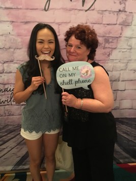 Nikki Soohoo and Louise at the Celebrity Connected Gifting Suite for the Emmy Awards.