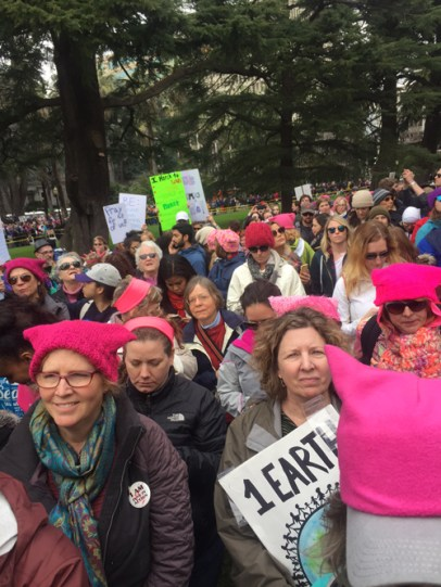Pink Pussy hats appeared everywhere - shown here in Sacto. See DC, Boston and Austin as well.
