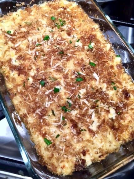 Casserole dish of Crawfish Fettuccini,.