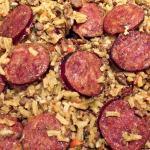 Rice and sausage in a jambalaya.