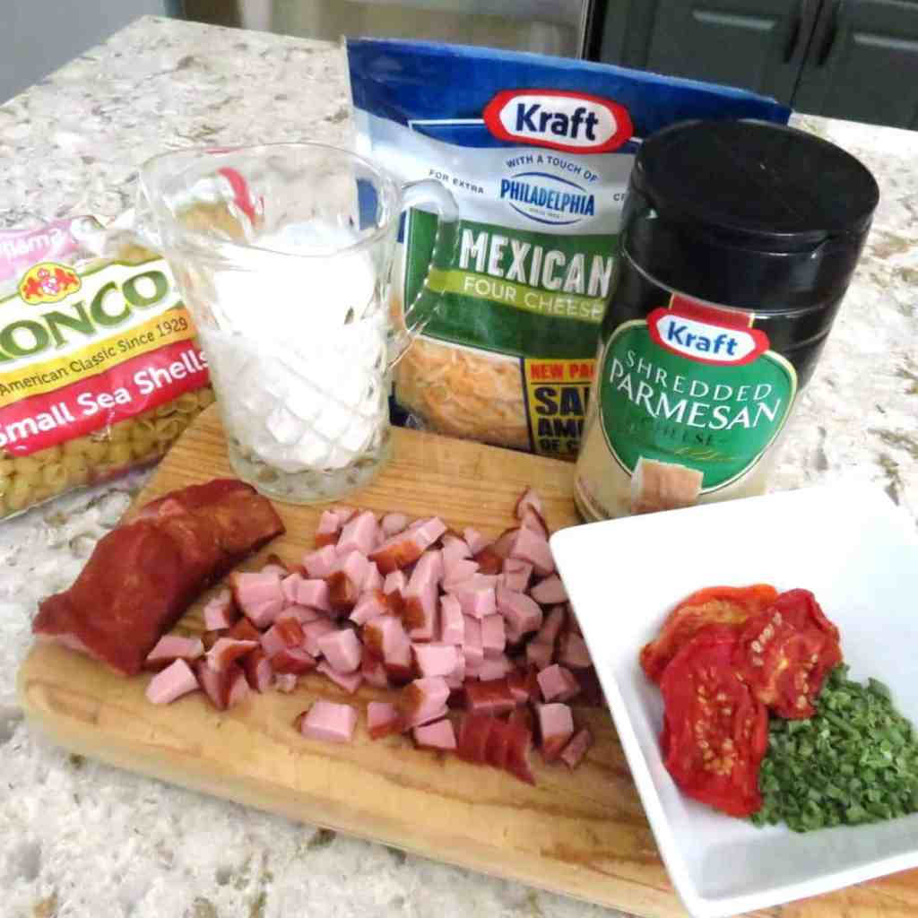 Ingredients for tasso macaroni and cheese.