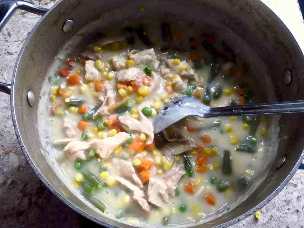 Chicken Pot Pie filling in pot.
