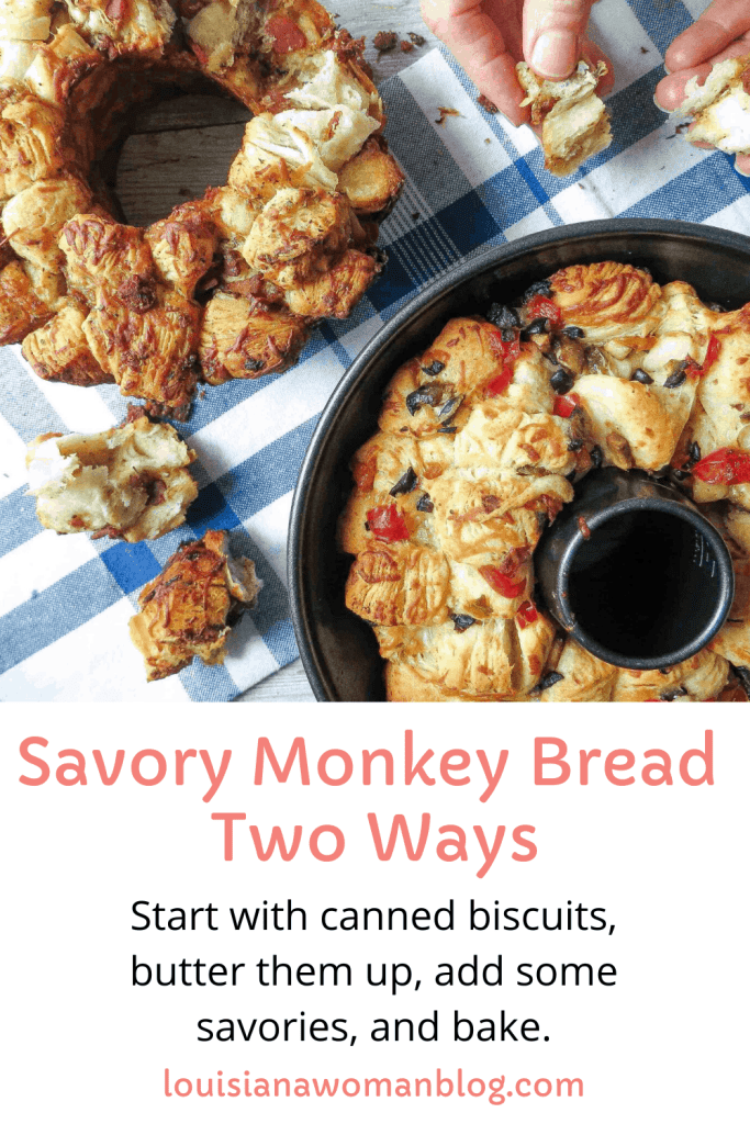 Two loaves of Savory Monkey Bread, Two Ways on a white and blue plaid dish towel.