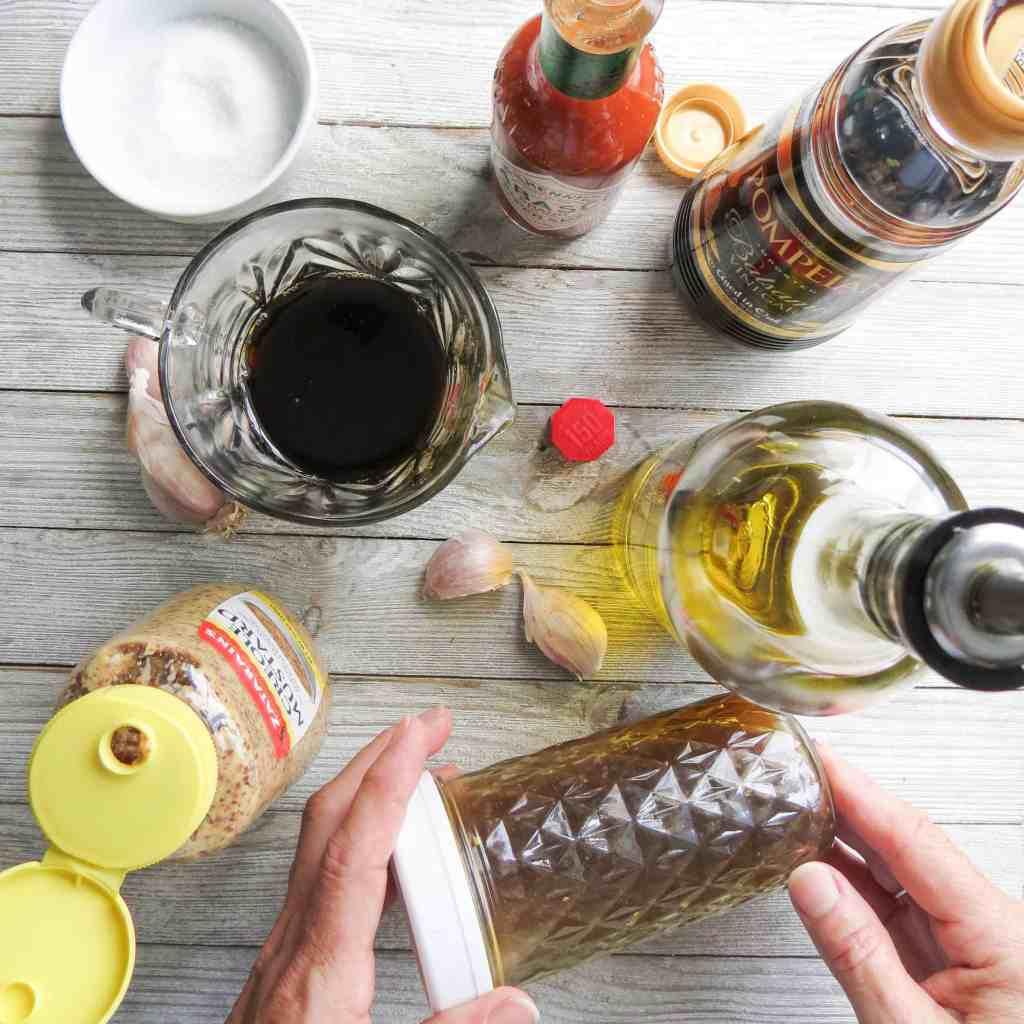 Ingredients for Sweet-Hot Cajun Vinaigrette.