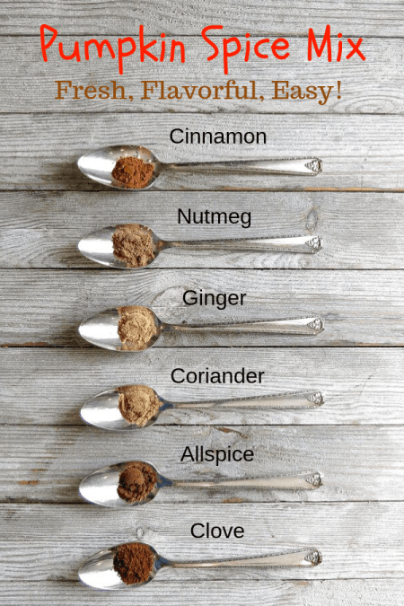 Six silver spoons lined on a board filled with different spices.