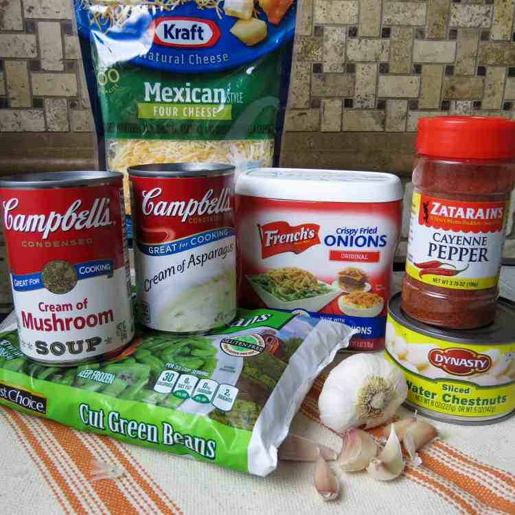 Ingredients for a green bean casserole.