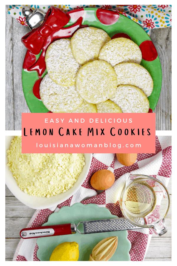 Pinterest Pin for Lemon Cake Mix Cookies.