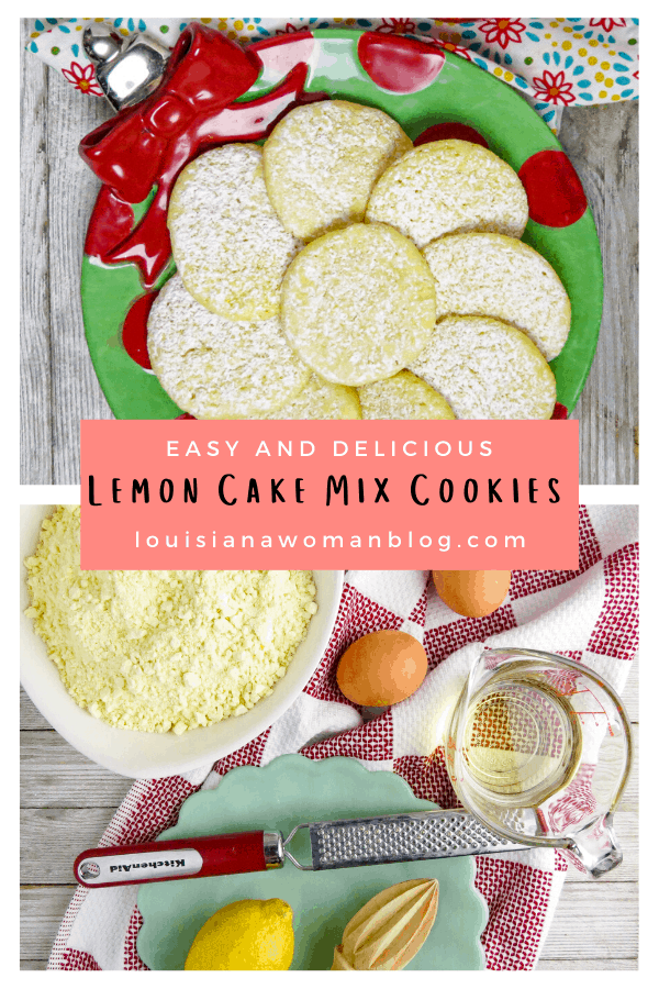 Pinterest Pin for Lemon Cake Mix Cookies.