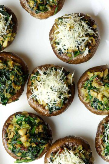 Spinach Veggie Stuffed Mushrooms on a white dish