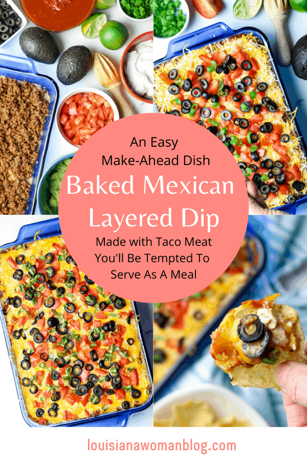 Four pictures of the process of making a Baked Mexican Layered Dip.