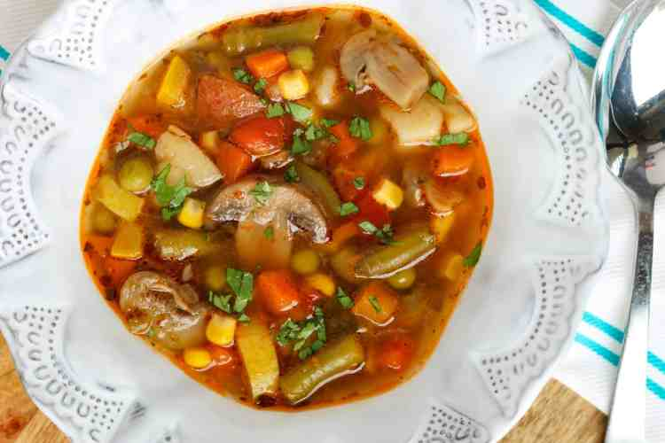 A bowl of vegetable soup.