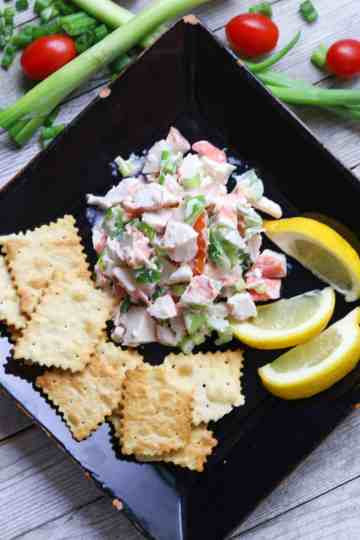 A serving of Crab Salad on a plate.