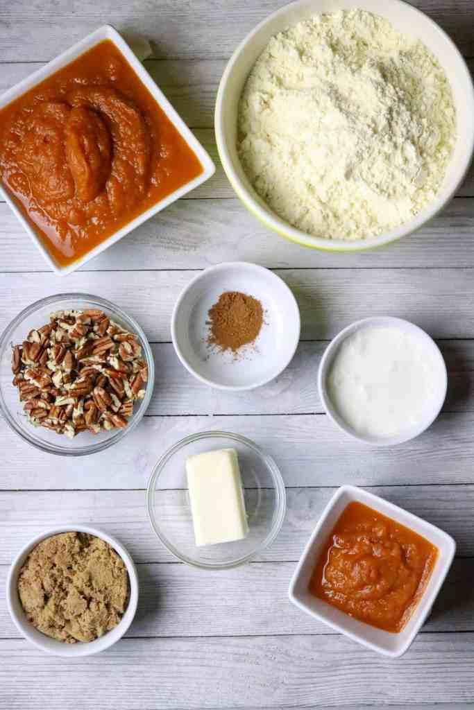 Ingredients for 2-Ingredient Pumpkin Cake With Brown Sugar Glaze.