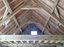 oak timber frame, barn conversion, Dordogne, France, roof truss, mezzanine