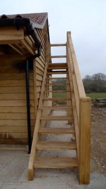 oak staircase, green oak, timber frame, external staircase, Dordogne, France, outdoor structures