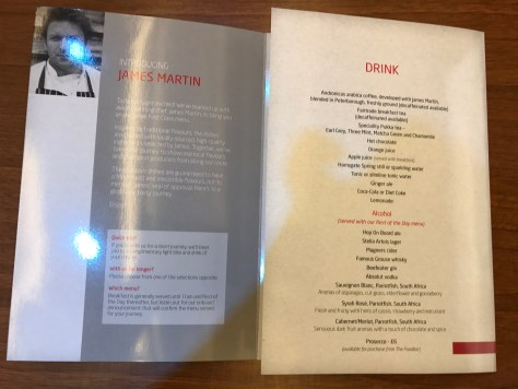 first class menu drinks