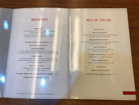 first class menu food