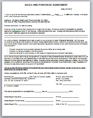 Assignment purchase agreement form