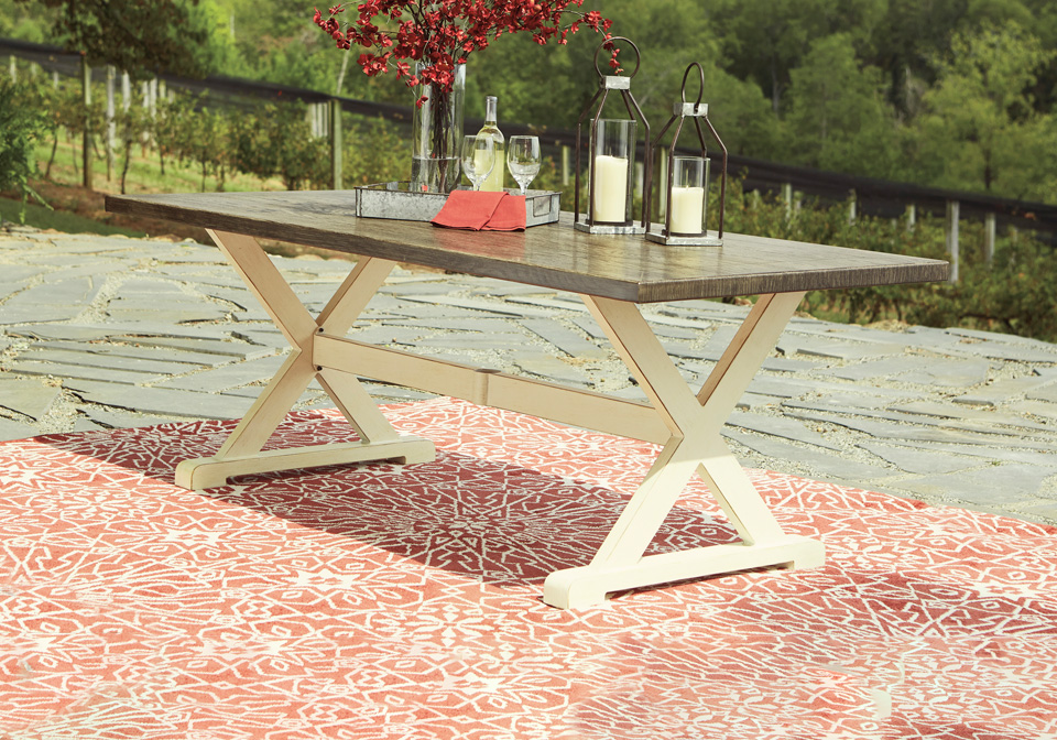 preston bay antique white outdoor dining table