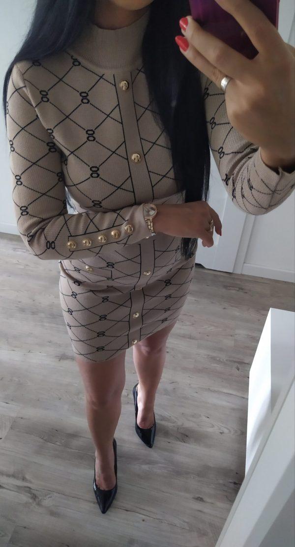 Sukienka wzorki - beżowa Lou Le Li