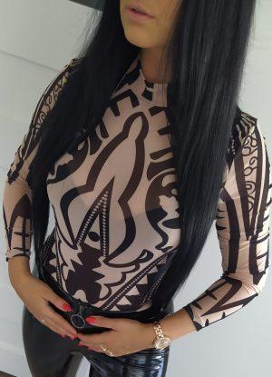 Body beżowe - czarne wzory Lou Le Li