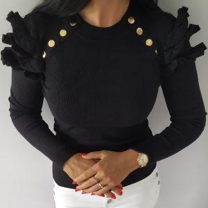 Sweterek elastyczny prążek - czarny Lou Le Li