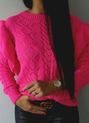 Sweterek falbanki różowy Lou Le Li