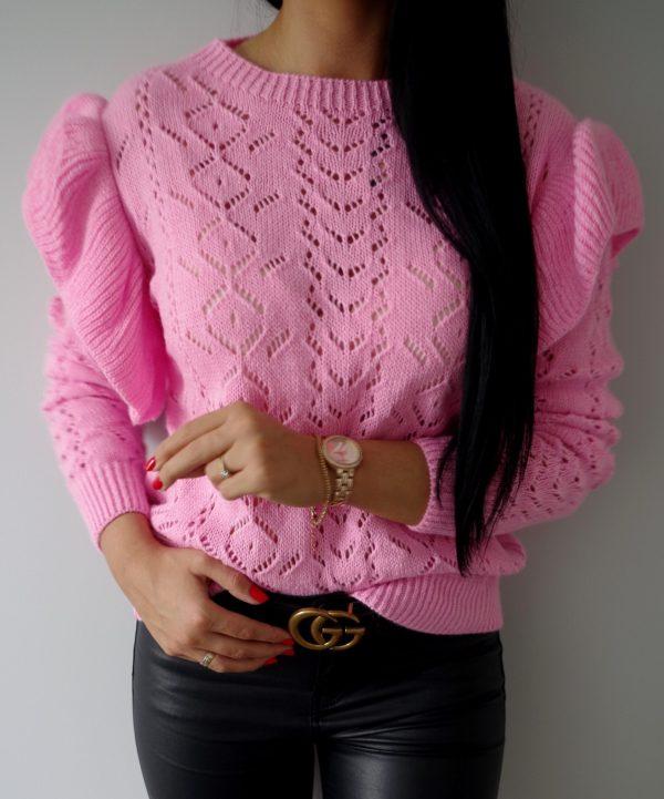Sweterek falbanki pudrowy róż Lou Le Li