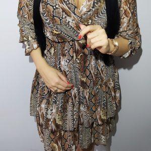 Sukienka Lora brązowy print Lou Le Li