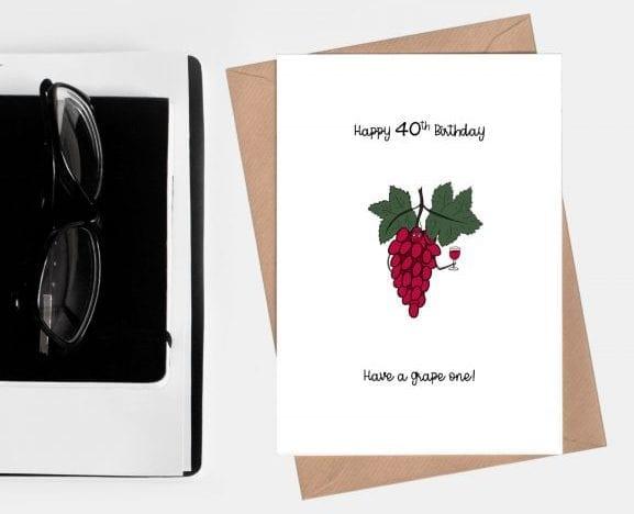 Grape 40th birthday card
