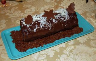 Buche de Noël aux trois chocolats
