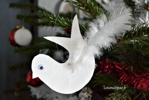 oiseau blanc décoration noel