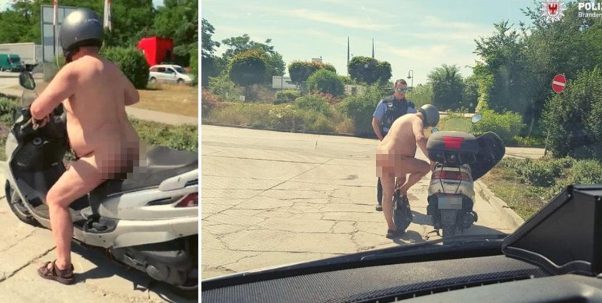 Kuumalaine Euroopas: Saksa politsei peatas täiesti alasti mopeedimehe