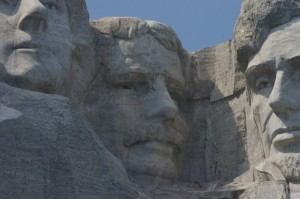 President Roosevelt and Partial View of President Lincoln, right, Mt. Rushmore