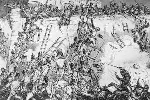 Litho of escalade against citadel walls